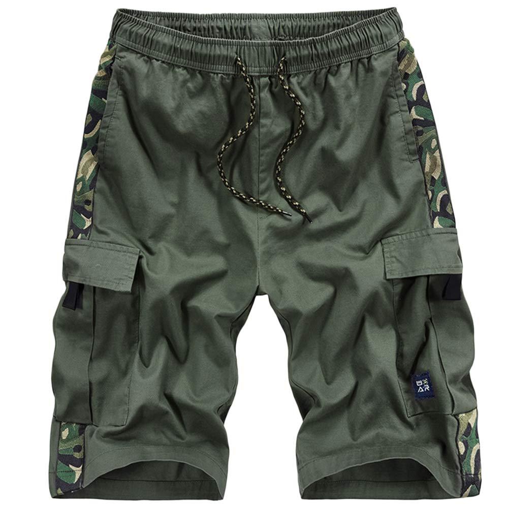 GBRALX Männer elastische Taille Strand Shorts Mehrfach Casual Sportswear Hosen Verstellbarer Kordelzug Schwimmen Shorts Fitness Bekleidung Jogger Gym Shorts