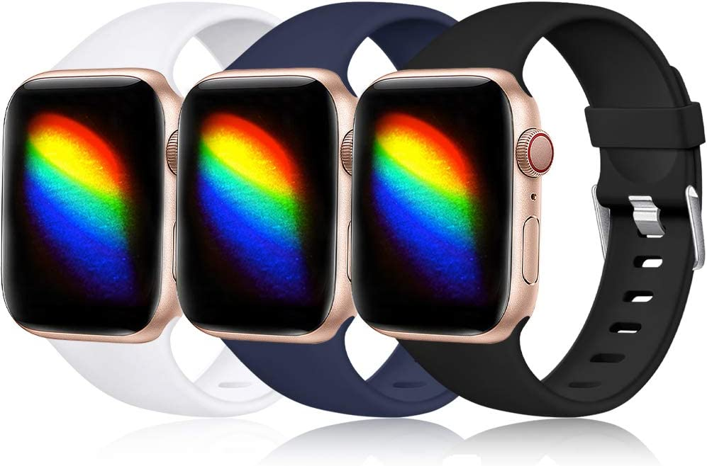Haveda Sport Compatible for Apple Watch SE Band, iwatch 44mm Series 6 5 4, Waterproof iWatch Bands 42mm Women Wristband for Apple Watch Series 3 42mm Men, 3Pack Black/Navy/White 42mm/44mm S/M