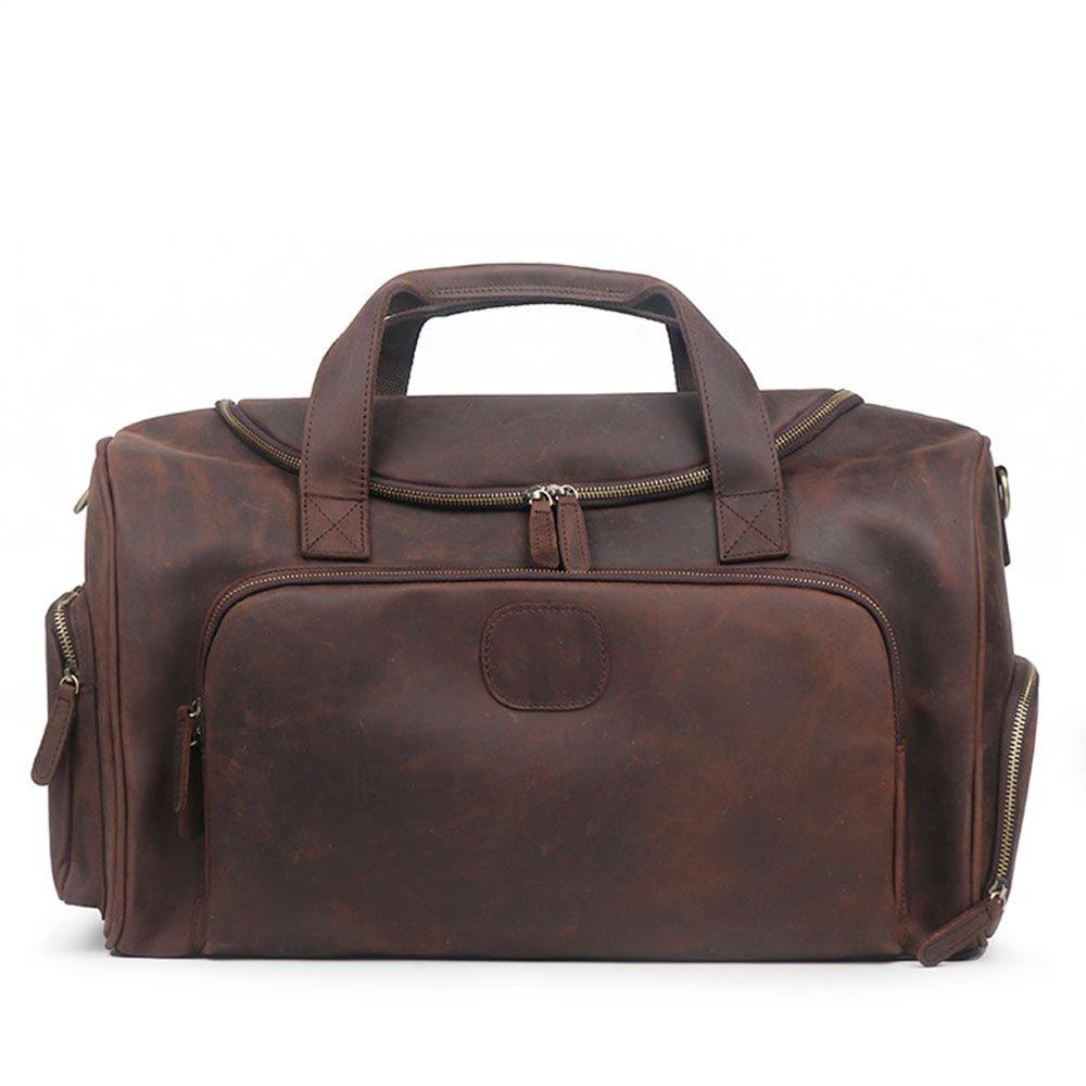 旅行バッグ スタイリッシュなシンプルさメンズスポーツポータブル荷物バッグ肩斜め大容量旅行バッグフィットネスバッグ スポーツバッグ トラベルバッグ (色 : 褐色) B07P9T9LLX 褐色