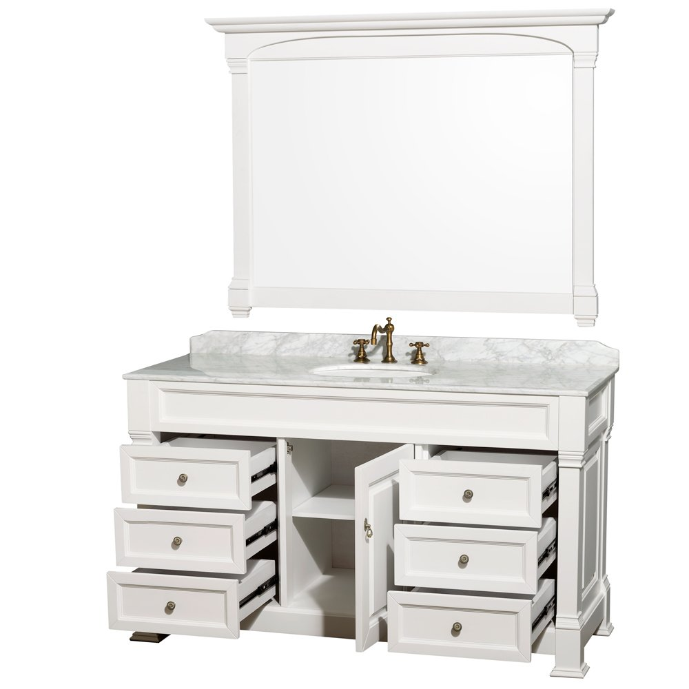 wyndham collection andover 60 inch single bathroom vanity in white with white carrera marble top with white undermount round sink and 56 inch mirror - 60 Bathroom Vanity
