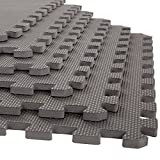 Stalwart 6 Pack Interlocking EVA Foam Floor Mats Gray 24x24x0.50
