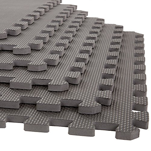 Stalwart Foam Mat Floor Tiles, Interlocking EVA Foam Padding Soft Flooring for Exercising, Yoga, Camping, Kids, Babies, Playroom – 6 Pack