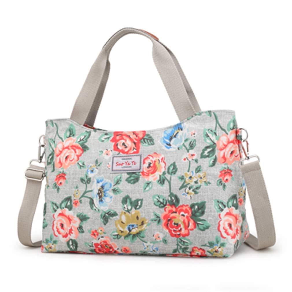Women Messenger Bags Floral Cross Body Shoulder Canvas Hobo Bag khaki