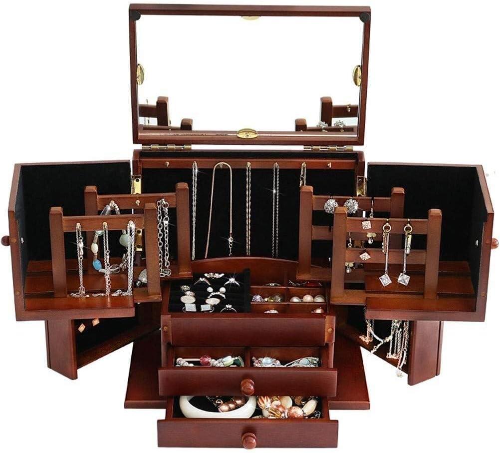 ジュエリーボックス 女性のための木製の宝石箱ジュエリーボックス大容量ボックスオーガナイザー戸棚ジュエリーディスプレイボックス アクセサリー 収納 ジュエリー収納ボックス