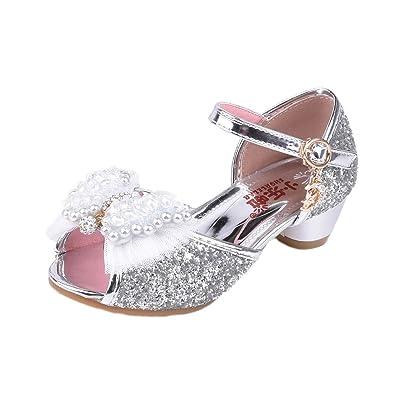 174723c2d4b5e YYF Petite Fille Belle Sandale Chaussure de Princesse A Talon AVCE  Paillettes Faux Perles