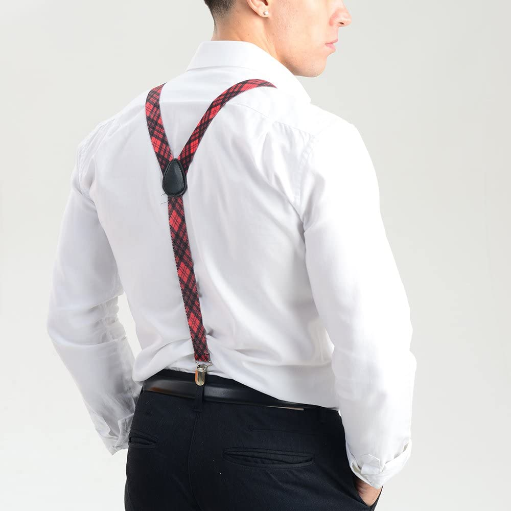 Colourful Suspenders for Men and Women Range of Colours Adjustable Braces Fancy Red Tartan