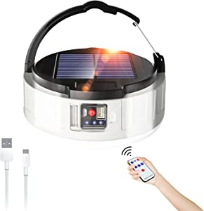 Zuppnm LED Camping Lantern Rechargeable with Remote,3600mAh Power Bank,2 Charging Methods,4 Lighting Modes.Portable Solar Light Bulb.Rechargeable Camping Light Great for Outages,Outdoor, Hiking, Home