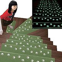 Kangkang@ 13Pcs Home Luminous Self-adhesive Non-slip Floor Staircase Carpets Bear Claw Pattern Stair Treads Protector Mats (green)