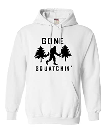 d25ffc921c5 Go All Out Small White Adult Gone Squatchin  Gone Squatching Bigfoot  Sasquatch Sweatshirt Hoodie