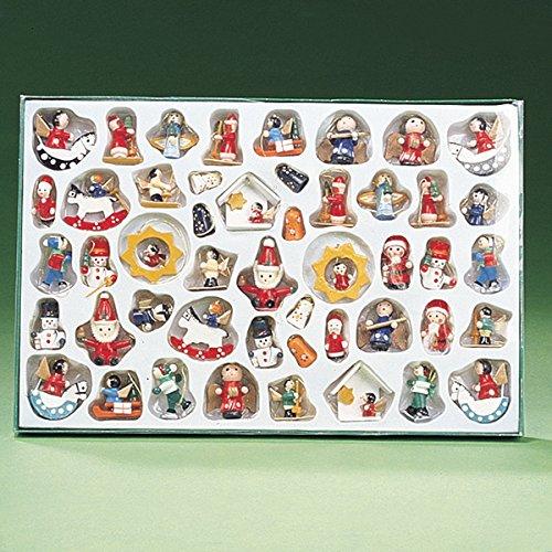 Kurt Adler Petite Treasures Wooden Mini Christmas Ornament Set of 48 Pieces