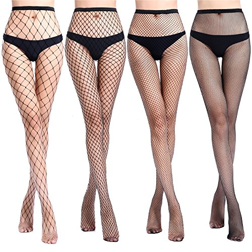 YUET DAWN Fishnets Stockings Black Pantyhose Tights for Women 4 Pairs (Black Patterned 4 Pairs, Height: 5'5
