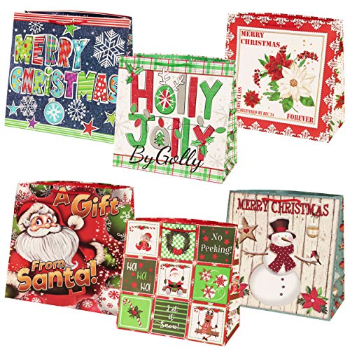 Gift Boutique Oversize Jumbo Christmas Gift Bags Giant Extra-Large Holiday Set of 12, 15″ X 15″ X 7″ Big Paper Gift Wrap For Large Present with Coordinating Gift Tags
