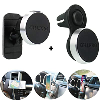 "Magnetic Phone Holder Car Air Vent Mount,OHLPRO 2-in-1Universal Stick On Car Dashboard Cradle Metal Aluminum Frame for iPhone Samsung Sony Google All 4""- 6"" Smartphones(Vent Stick Holder)"