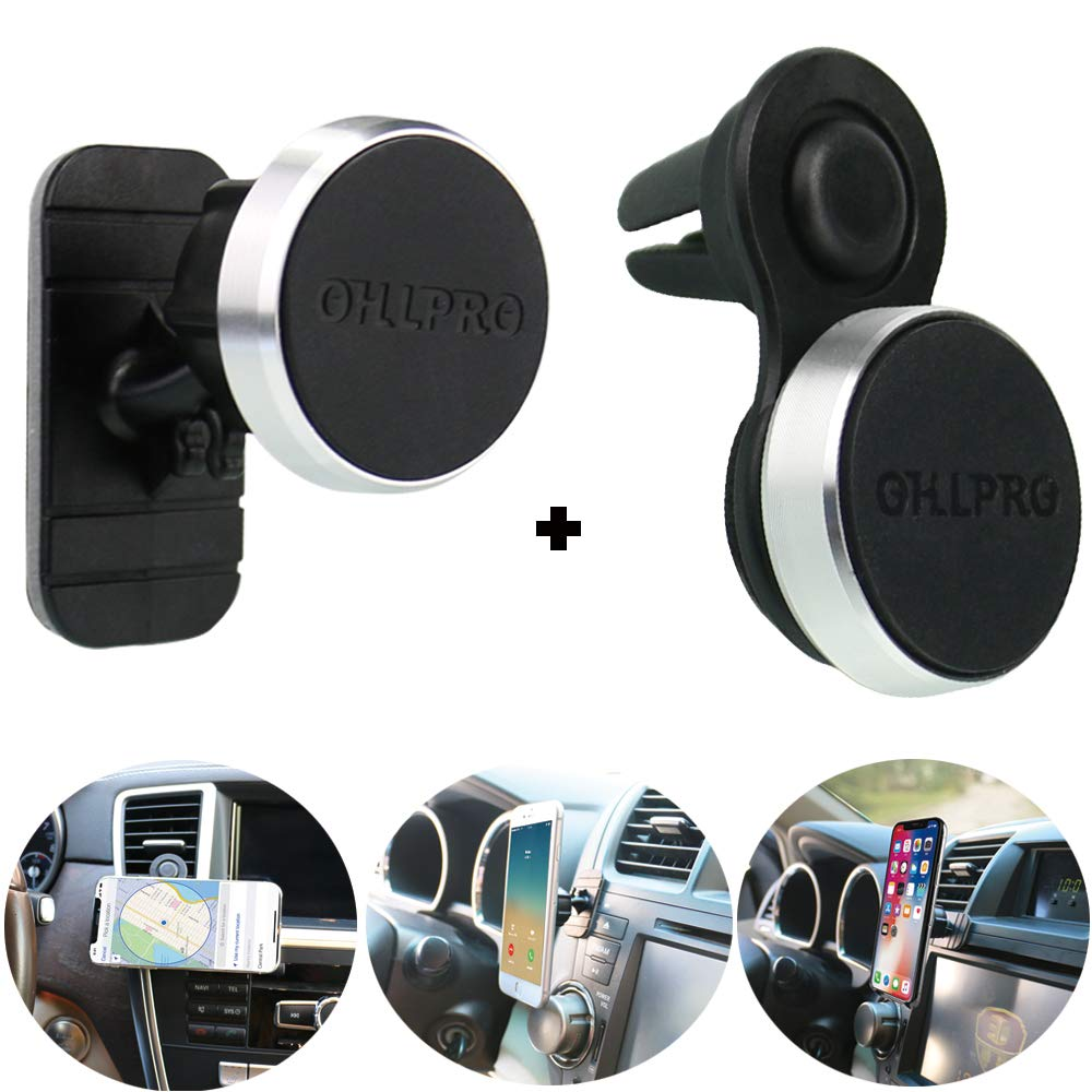 Magnetic Phone Holder Car Mount,OHLPRO Universal Stick On Dashboard and Air Vent 2-in-1 Cradle,Metal Aluminum Frame,for iPhone Samsung Sony Google All 4-6 Smartphones for iPhone Samsung Sony Google All 4-6 Smartphones TZ08CF-CTA