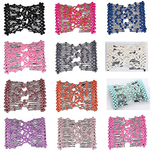 Casualfashion 8Pcs Magic Beaded EZ Stretch Double Clips Hair Slide Combs Hair Accessories for Women Girls Assorted Colors for cheap