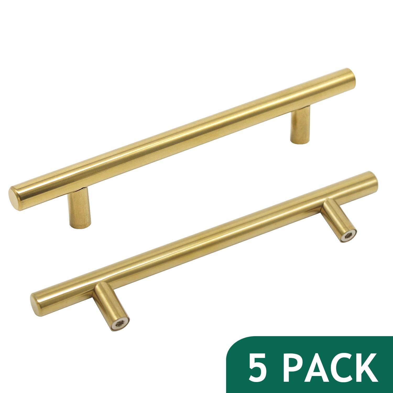 """Probrico 5"""" Hole Certers Gold Cabinet Drawer Pulls Brushed Brass Modern Cabinet Hardware Euro Bar Pulls Golden Kitchen Bathroom Dresser Furniture Cabinet Hardware(5 Pack)"""