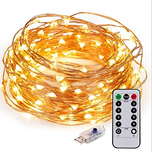 Korowin String Lights 33ft 100LED Remote&USB Control Waterproof Decorative Lights for Indoor&Outside Copper Wire Warm White