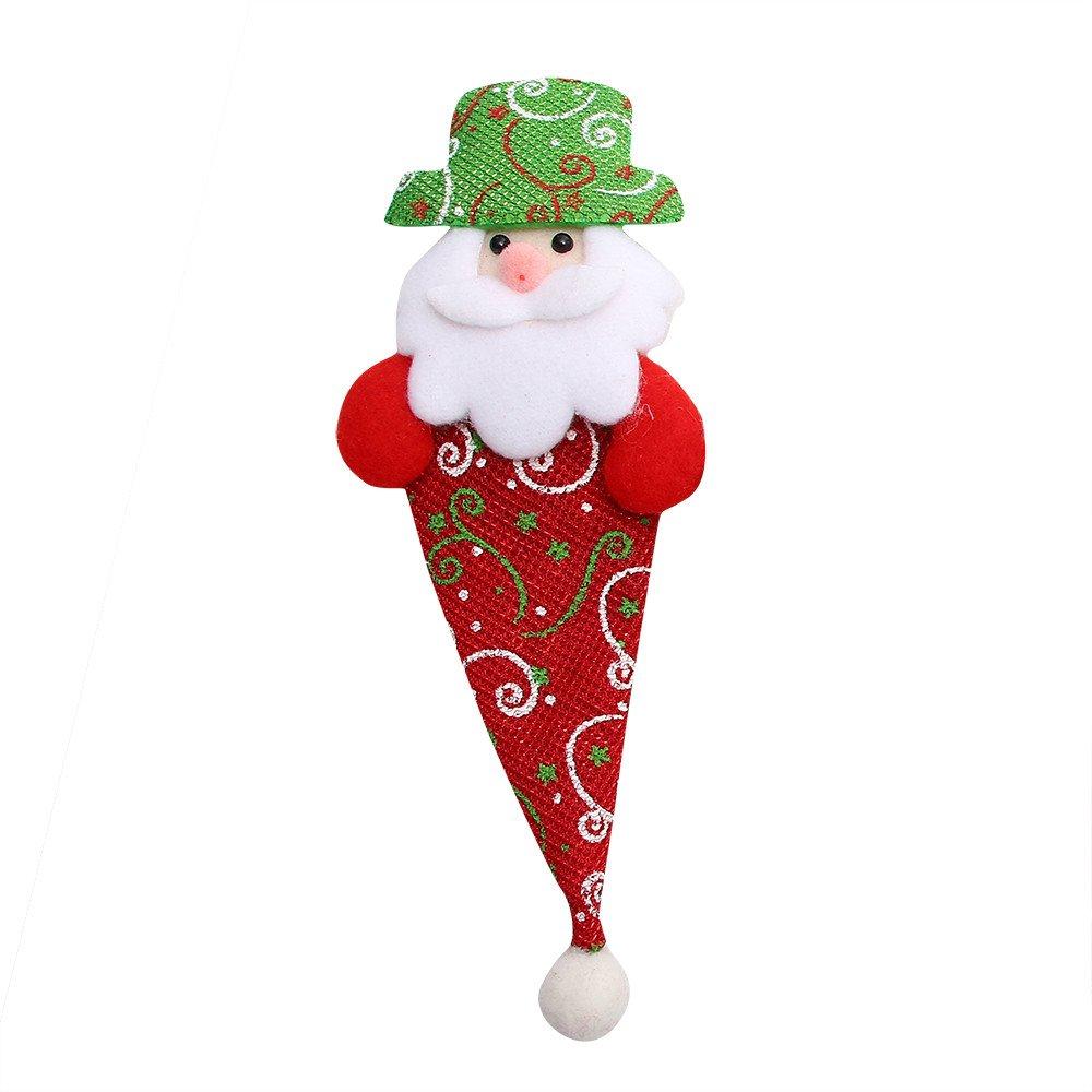 Christmas Cutlery Bag - BSGSH Xmas Santa Claus/Elk/Bear/Snowman Gift Card Silverware Holders Holiday Treat Bags Christmas Party Decoration (Santa Claus)