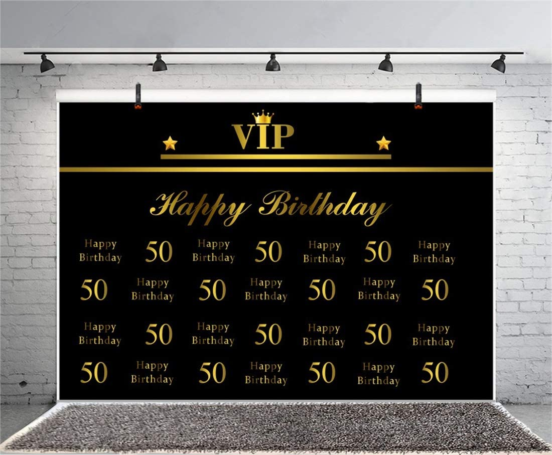 Yeele 10x6.5ft Photography Background Adults Men Woman 50th Birthday Party Customizable VIP Father Mother Fift Years Old Fift ieth Bday Celebration Photo Backdrop Studio Props