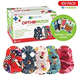 Kids Eye Patches - Fun Boys and Girls Design - 90 + 10 Bonus Latex Free Hypoallergenic Cotton Adhesive Bandages for Amblyopia and Cross Eye - 3 Reward Chart Posters - Optho-Patch by Defined Vision