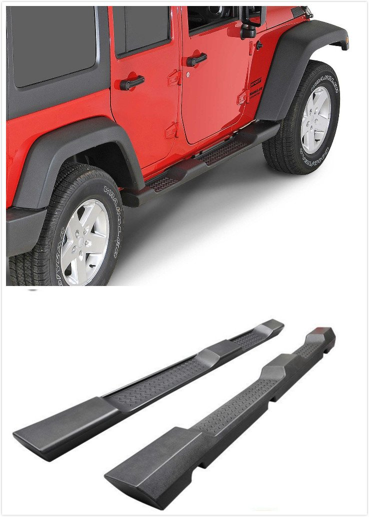 4-Door Exotic Store 2007-2017 REPLACEMENT Style Hard Rock Wrangler Side Step Running Board Nerf Bar Left+Right For 2007-2017 Jeep JK Wrangler Running Board Nerf Bar