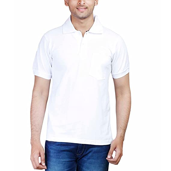 b7d4ac70423 FLEXIMAA Men s Cotton Polo Collar T-Shirt White Color  Amazon.in  Clothing    Accessories