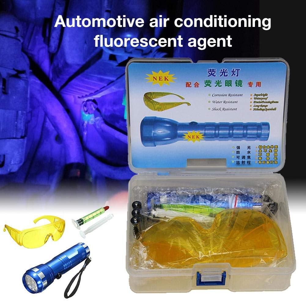 Including LED Flashlight UV-Protecting Glasses Tool Box Leak Detection Tools Detector Kit for Car R134A R12 Air Conditioning A//C Sealing System