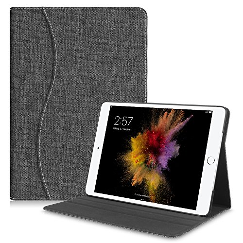 Denim Model - Fintie iPad 9.7 2018/2017, iPad Air 2, iPad Air Case - [Sleek Shield] PU Leather Slim Fit Multi Angle Stand Cover w/Pocket, Auto Wake/Sleep for iPad 6th 5th Gen, iPad Air 1 2, Denim Charcoal