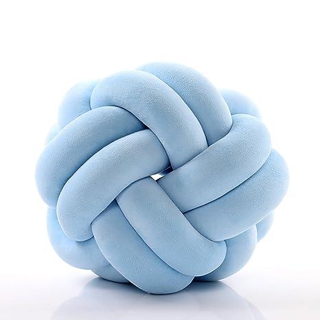 HB.YE Nudo Almohada Cojín Redondo para Bebe, Decoración de Casa o Habitación, Juguetes Súper Suave para la muñeca de los cabritos, Azul, 25.5cm