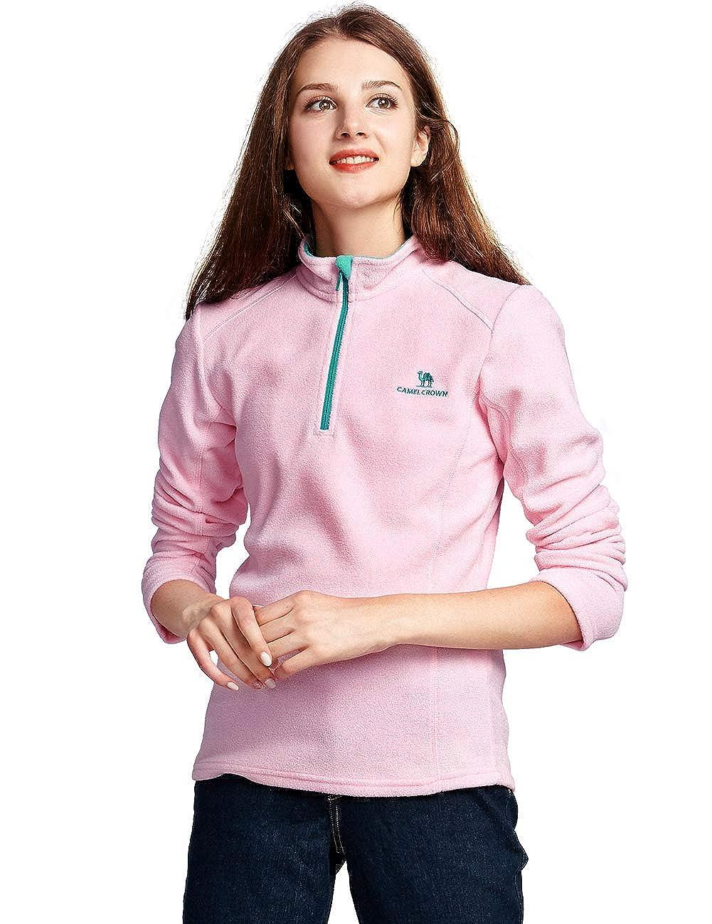 Camel Half Zip Fleece Jacket Women Lightweight Long Sleeve Fleece Pullover for Fall and Winter Z8W103122-CLUS