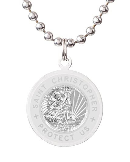 d8c5e81ec2704 Amazon.com: Get Back St. Christopher Surf Necklace | Medium - Silver ...