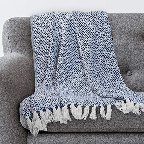 Americanflat Omala Navy and White Double Diamond Cotton Blanket Throw with Fringe - 50x60 Inches (Blankets Throws Blue And Navy)