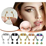 KKFG Fake Nose Ring Hoop, Magnetic Septum Nose Ring Horseshoe False Nose Ring Hoop Reusable Non-Piercing 316L Stainless Steel