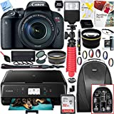 Canon EOS Rebel T7i Digital SLR Camera with EF-S 18-135mm IS STM Lens and Canon Pixma MG3620 Wireless Inkjet All-In-One Multifunction Photo Printer 64GB Accessory Bundle