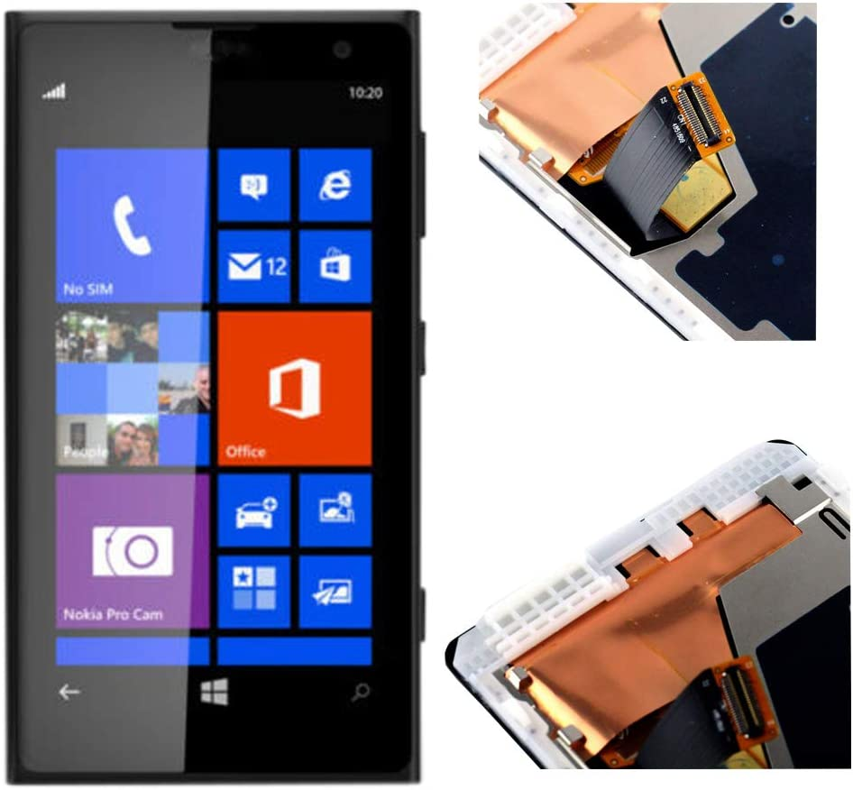 Assembly Replacement for Nokia Lumia 1020 LCD with Glass Touch Screen Tablet Repairs Part with Frame 4.5 Black