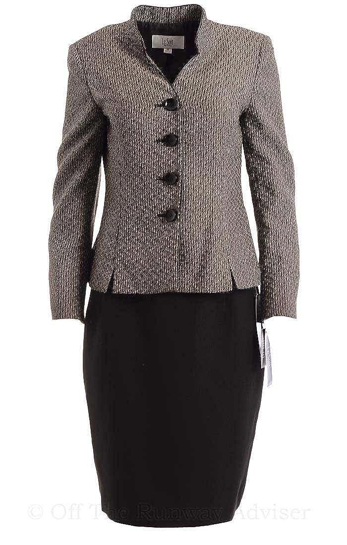 Le Suit Women's Faux Leather Trim Tuscany Skirt Suit 500310551WO-$P