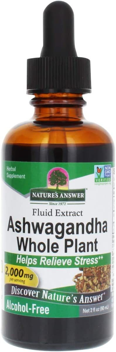 Nature's Answer Ashwagandha Root | Herbal Supplement Maintain Healthy Immune Function | Supports Body Against Stress | Gluten-Free, Alcohol-Free & Vegan 2oz (2 Pack)
