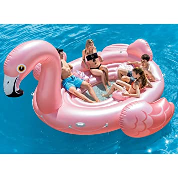 Festnight Flotador Piscina Centro de Juegos Hinchable Flamenco Flamingo Party Island Nevera Incorporada 422 x 373 x 185 cm: Amazon.es: Hogar