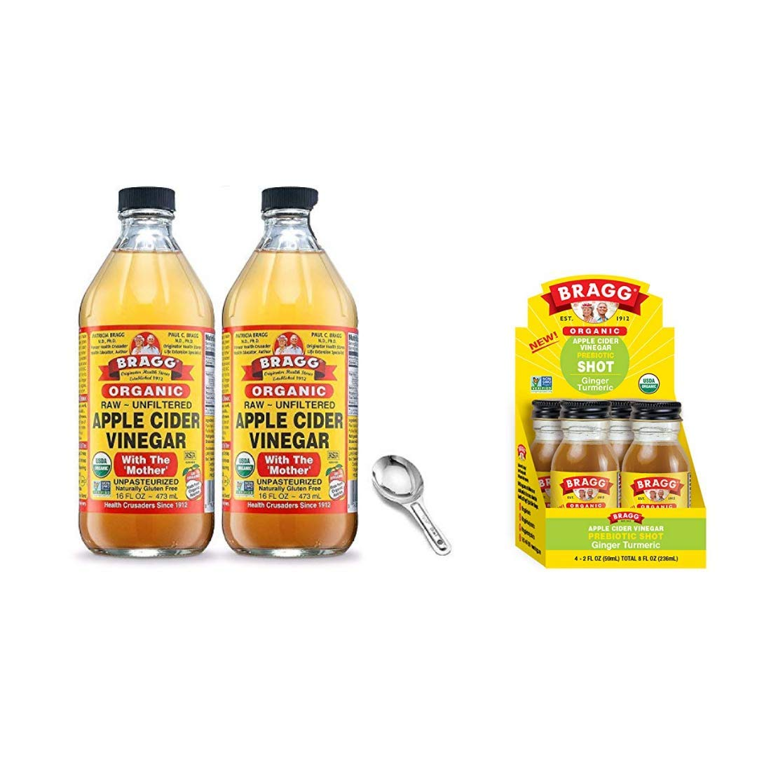 Bragg Organic Apple Cider Vinegar With the Mother 16 Oz Pack of 2 w/ Measuring Spoon and Bragg Organic Apple Cider Vinegar Shot with Ginger Turmeric 2 Oz ACV Shot Pack of 4 Bundle