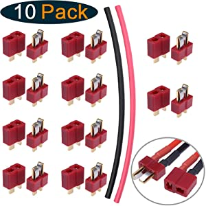 Hobbypark 10 Pairs T-Plug Connectors Male & Female Deans Style w/Shrink Tubing for RC LiPo Battery Pack ESC Electric Engine Motor Parts