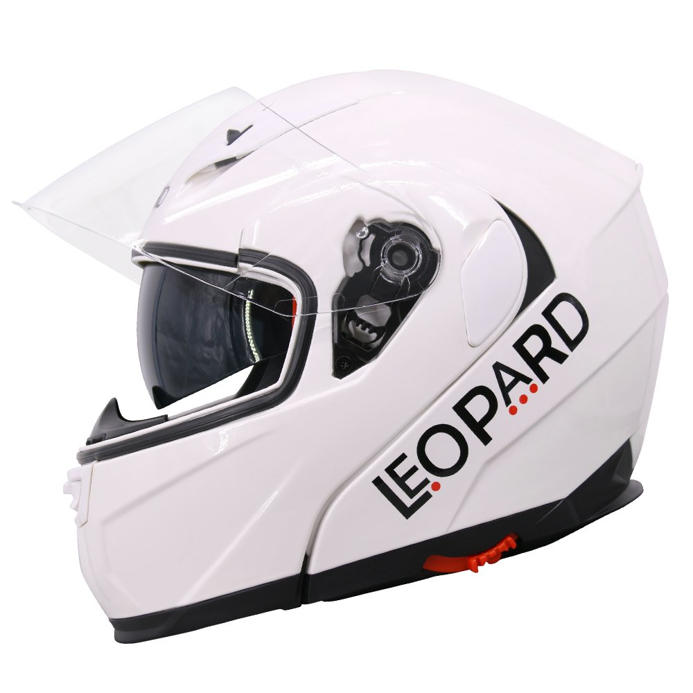 57-58cm Leopard LEO-838 DVS Flip up front Motorcycle Motorbike Helmet Road Legal Black M