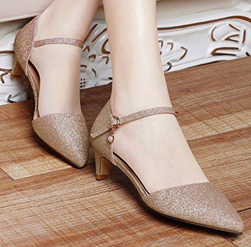 Población 35 Los Elegante Zapatos Y Ligera Con Una Khskx Nuevos Primavera De el Oro Mujer 4cm Verano Zapatos xqWaP6Ow