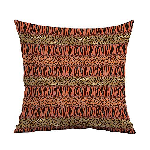 FreeKite African Silky Pillowcase Leopard and Cheetah Skin Savannah Pattern Safari Fauna Primitive Artwork Super Soft and Luxurious Pillowcase W16 x L16 Inch Sephia Orange Amber