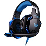 EasySMX Comfortable LED 3.5mm Stereo Gaming LED Lighting Over-Ear Headphone Headset Headband with Mic for PC Computer Game with Noise Cancelling & Volume Control