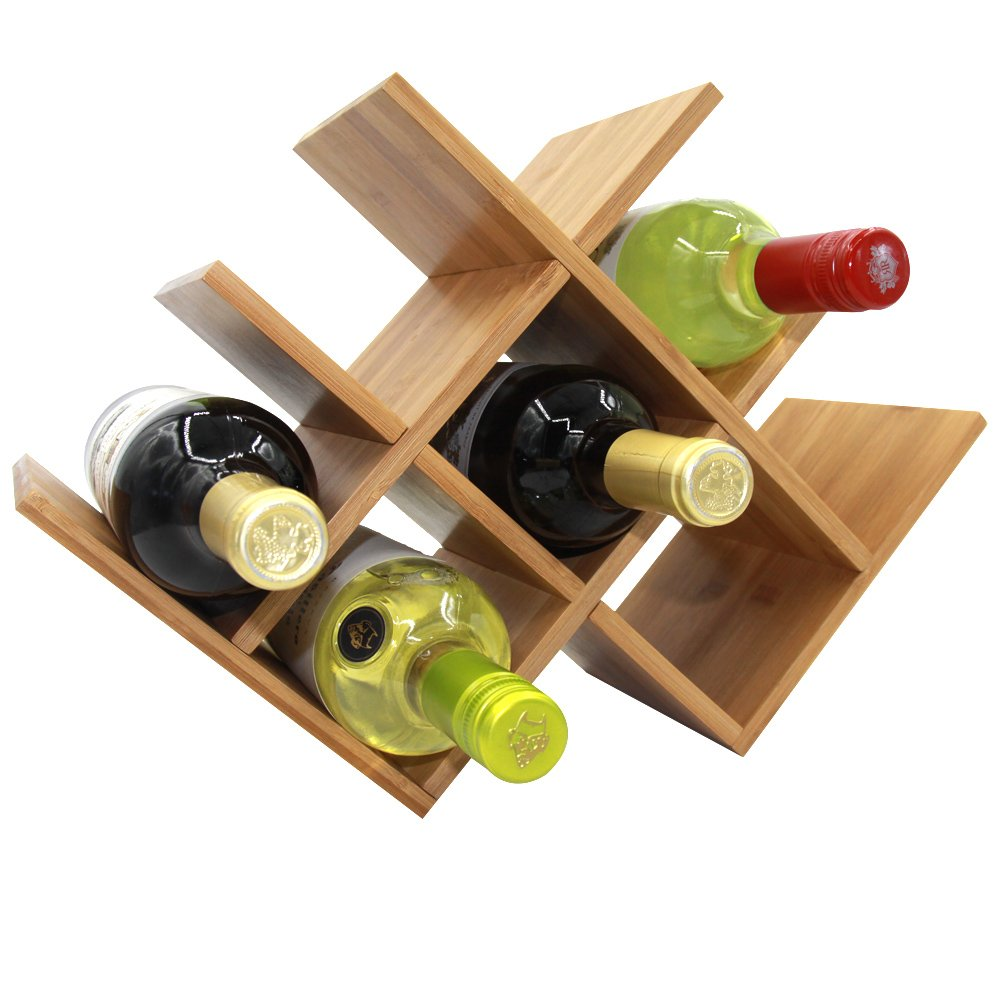Amazoncom Autree Natural Bamboo Wine Rack 8 Bottles Countertop