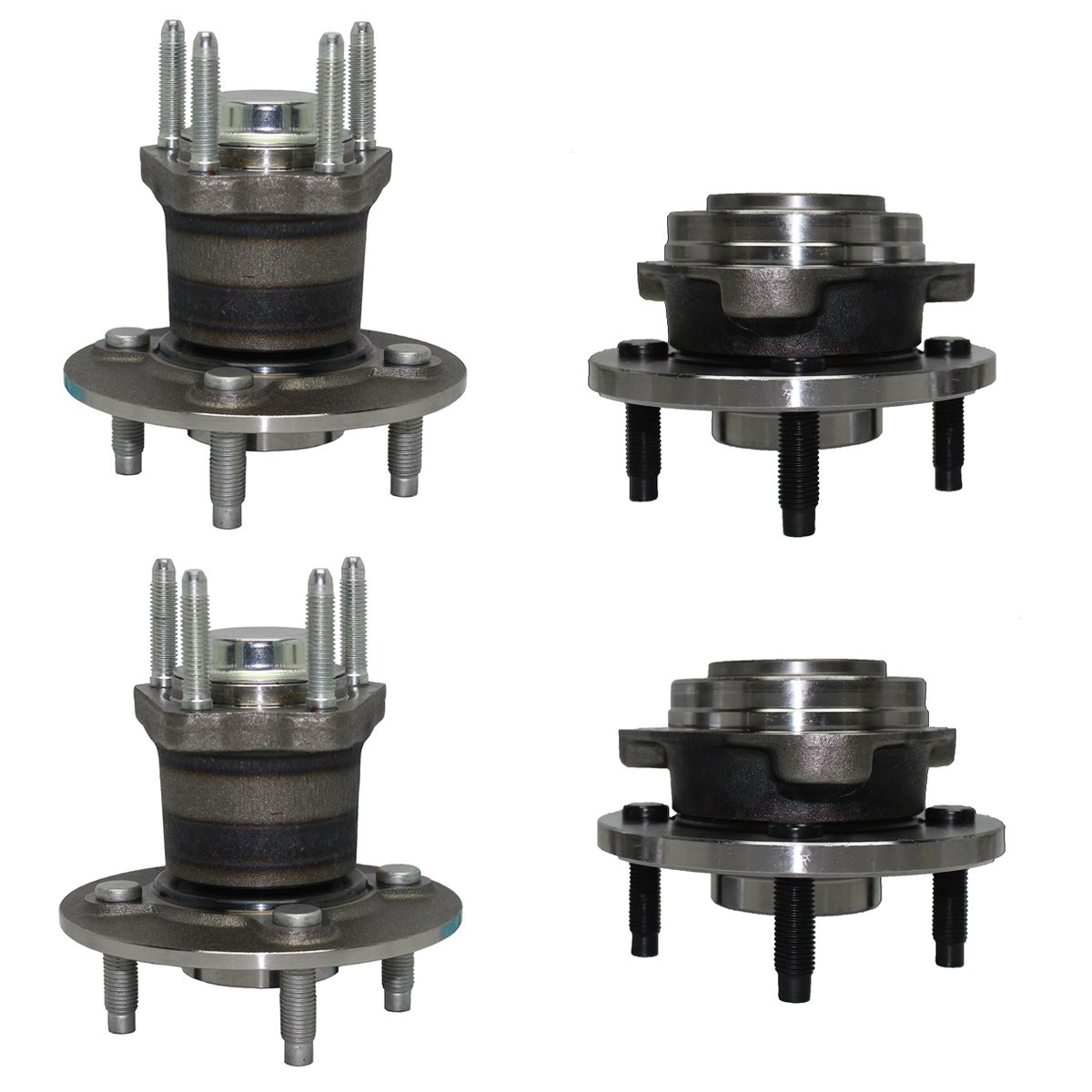 Detroit Axle - 4-LUG Non-ABS Front & Rear Wheel Bearing and Hub Assembly Set for 2007-2009 Pontiac G5 - [2005-2006 Pontiac Pursuit] 2005-2009 Chevrolet Cobalt Ex. SS [2003-2007 Saturn Ion]