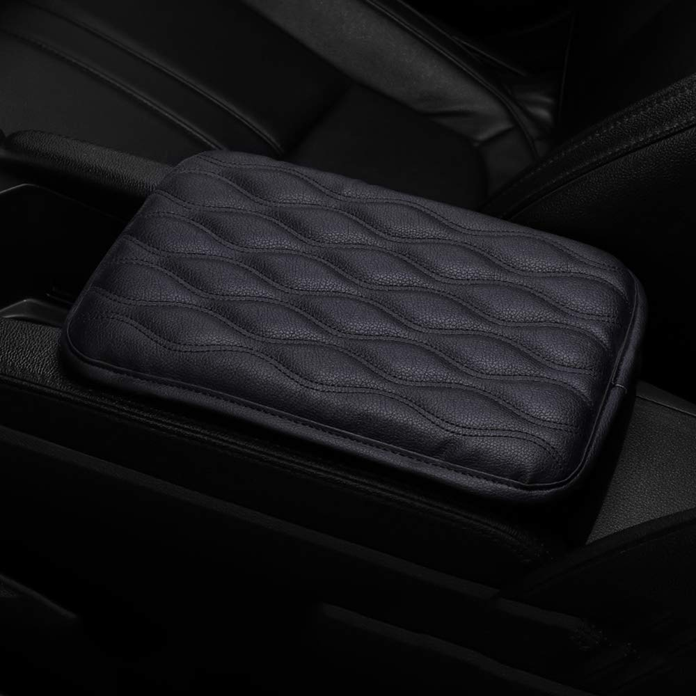 Dotesy Auto Center Console Cover Armrest Pads Black PU Leather Universal Car Center Console Box Arm Rest Pads Cushion Protector