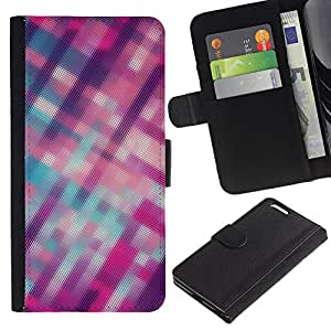 UberTech / Apple Iphone 6 PLUS 5.5 / Plaid Stripes Blurry Pink Purple Pattern / Cuero PU Delgado caso Billetera cubierta Shell Armor Funda Case Cover Wallet Credit Card