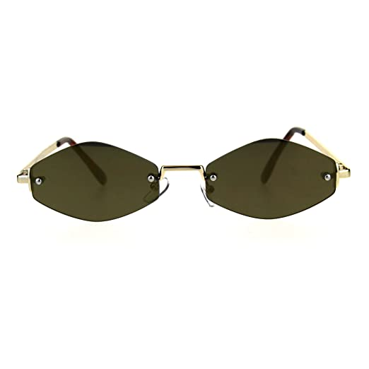 8e446fbf56d1d Mens Diamond Hippie Pimp Rimless Metal Color Mirror Lens Sunglasses All Gold