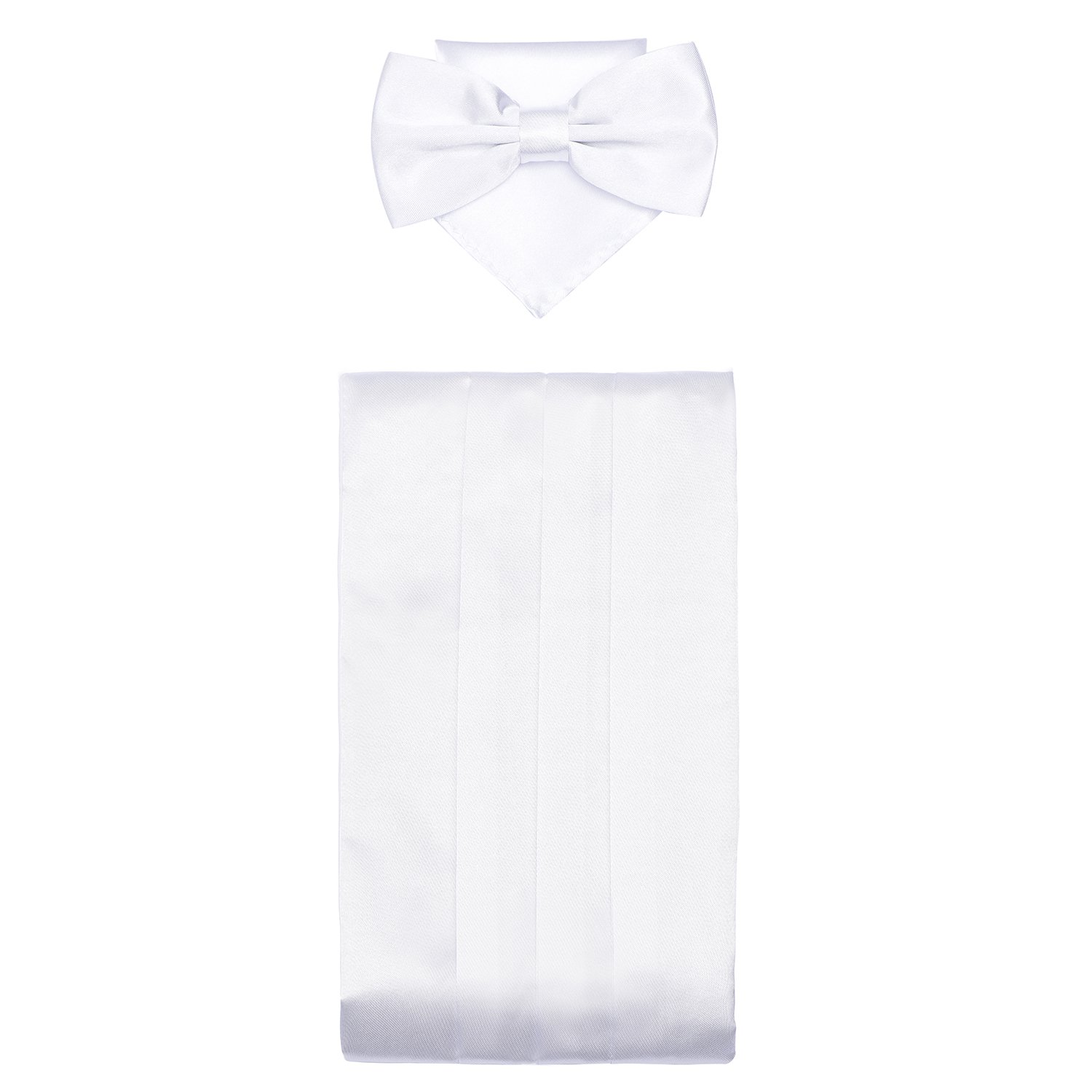 DonDon Mens triple pack with colour coordinated cummerbund bow tie breast pocket handkerchief perfect for special occassions